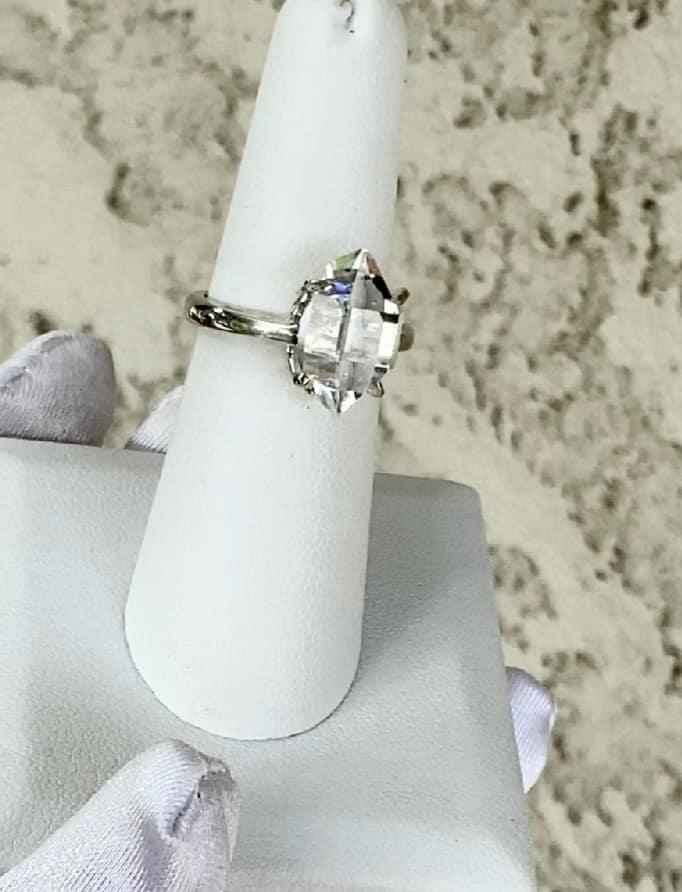 Large Raw Crystal Herkimer Ring