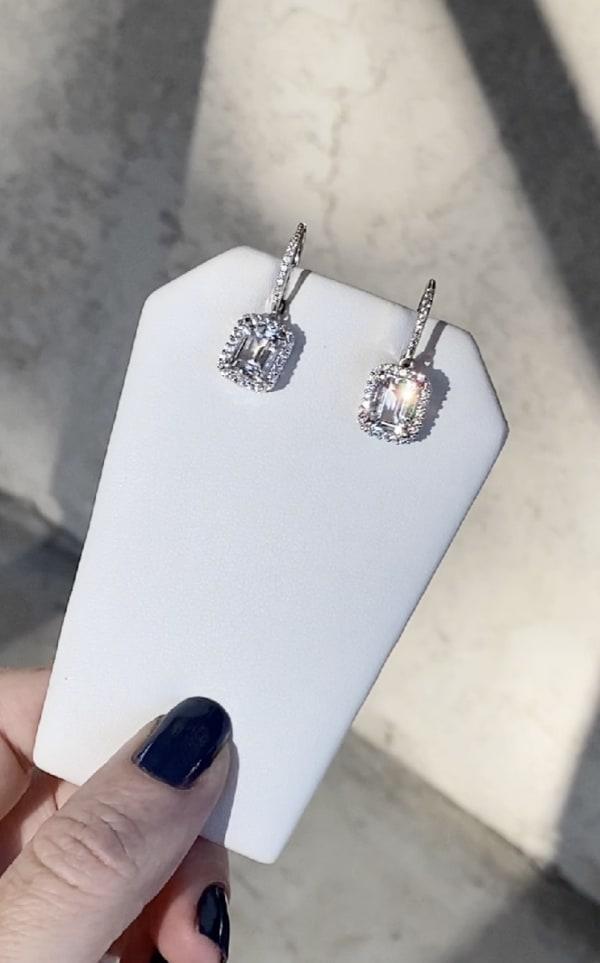 Herkimer emerald cut halo earrings