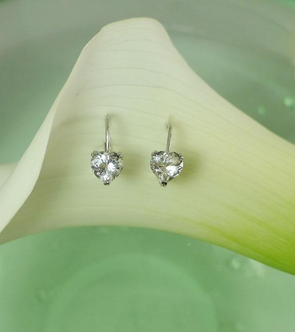 Herkimer Heart Cut Earrings