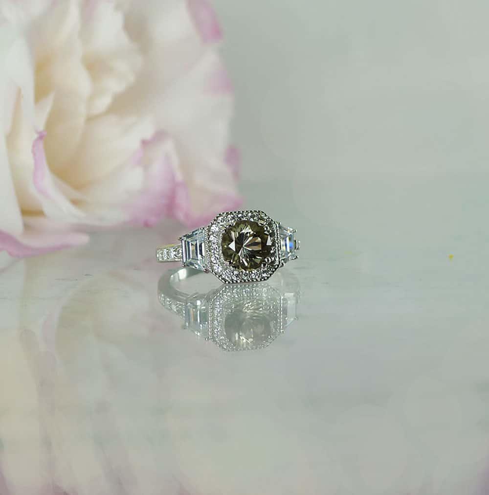 Round Dark Smoky Herkimer Ring