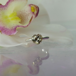 Heart smoky herkimer ring
