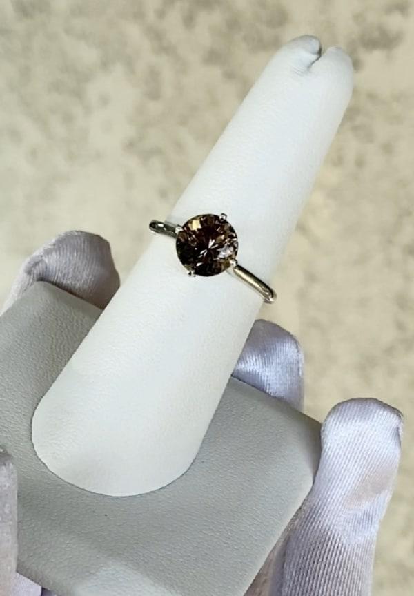 Dark Round Champagne Herkimer Ring