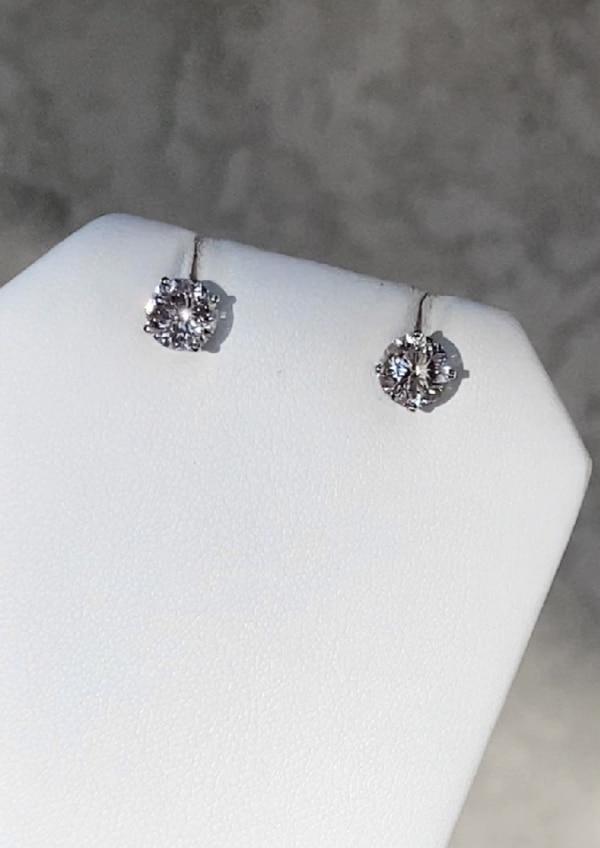 White gold herkimer earrings