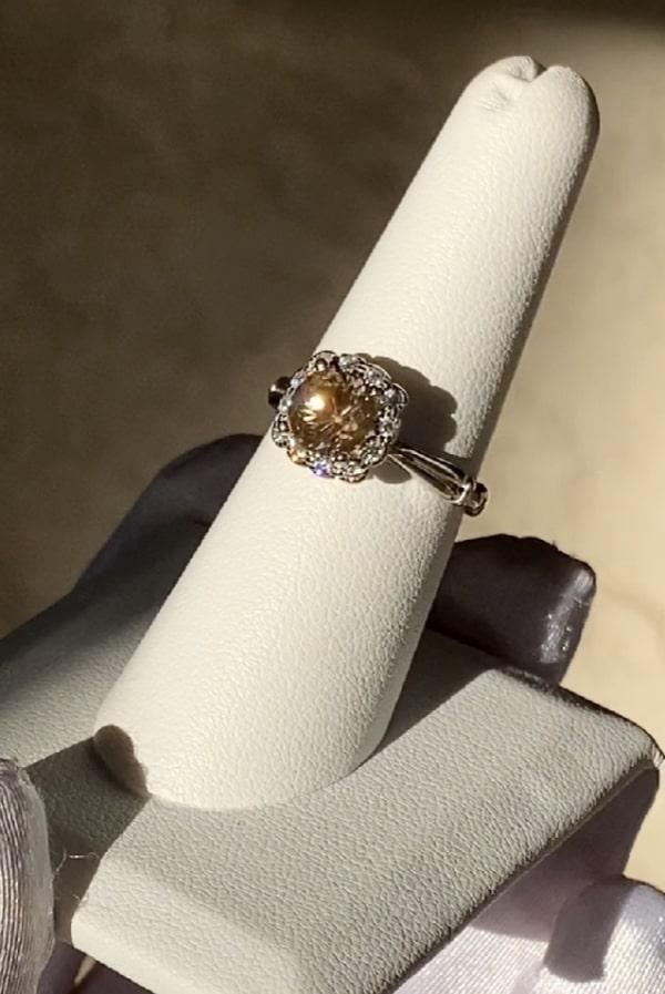 Chocolate herkimer halo ring