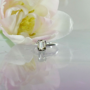 Emerald cut champagne herkimer ring