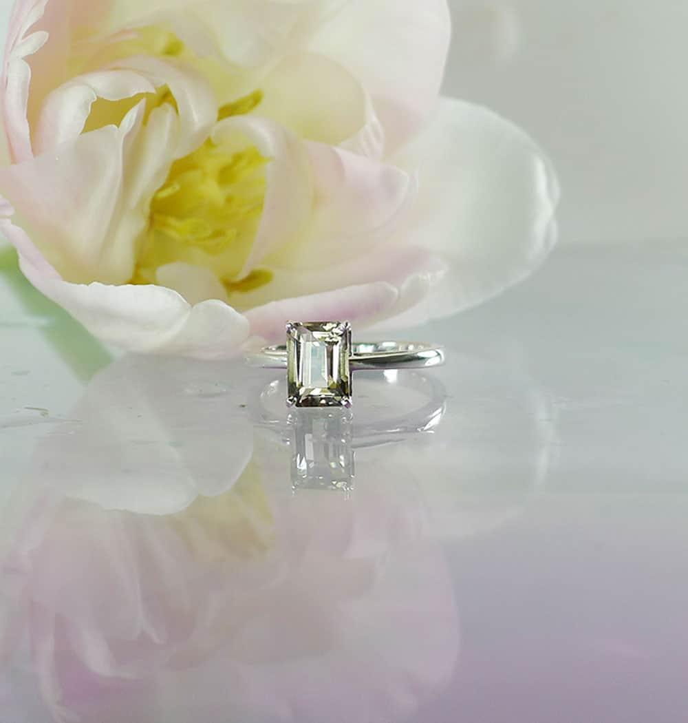 Emerald cut champagne herkimer ring