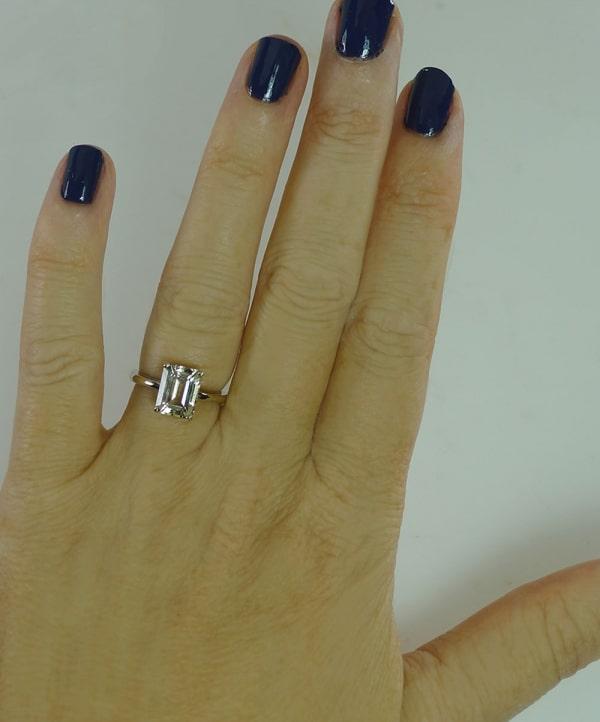 Grey Emerald Cut Herkimer Ring