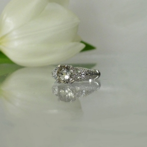 Light champagne herkimer ring
