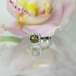 Chocolate herkimer halo ring