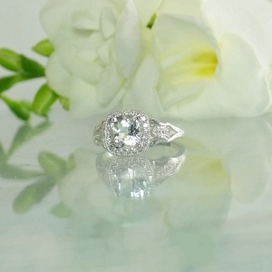 Art deco cushion cut ring