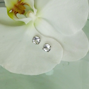 White gold herkimer earrings