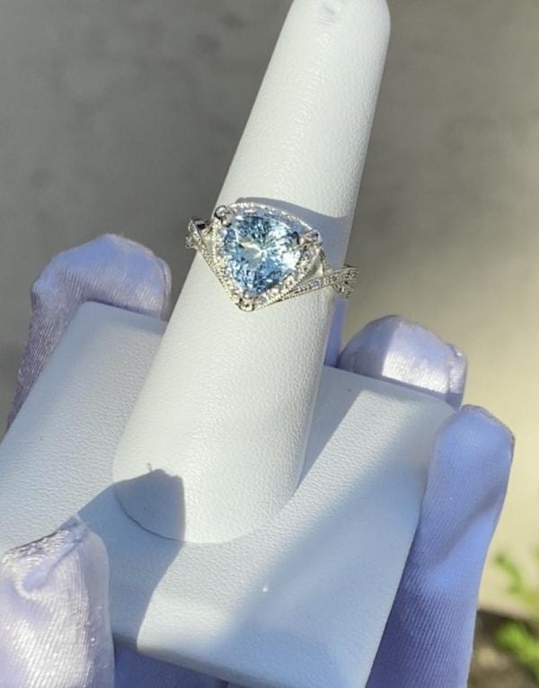 Triangle cut aquamarine ring