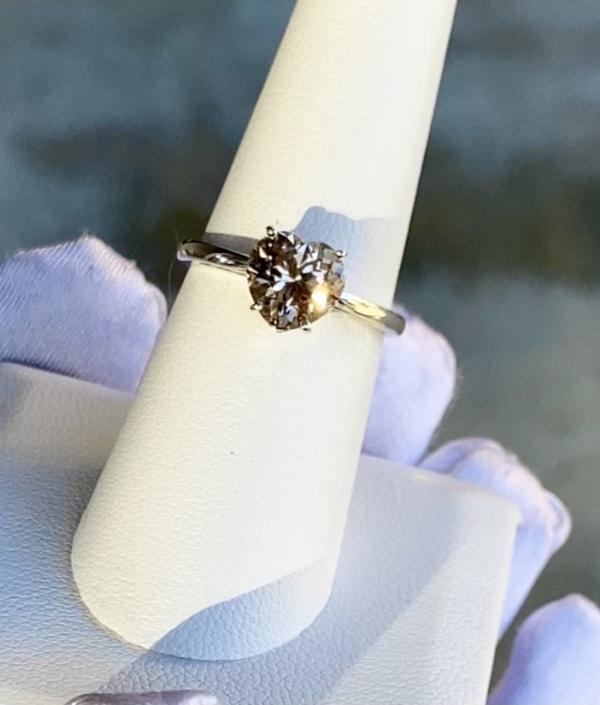 Heart champagne herkimer ring