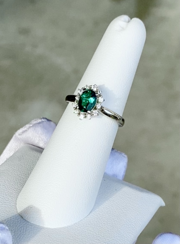 Green Tourmaline Oval Halo Ring