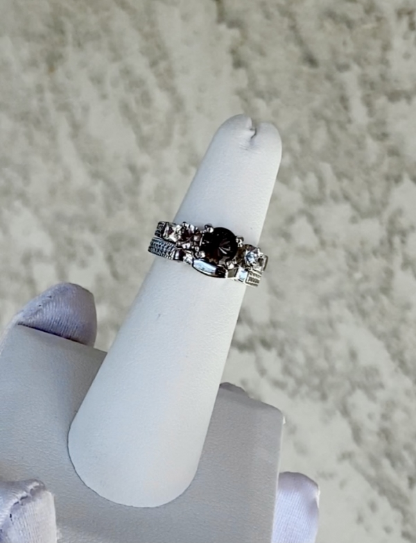 Black Herkimer Ring Set