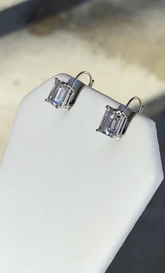 White gold herkimer dangle earrings