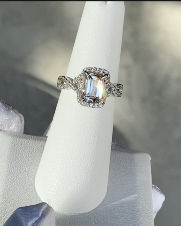 Step Cut Sterling Herkimer Ring