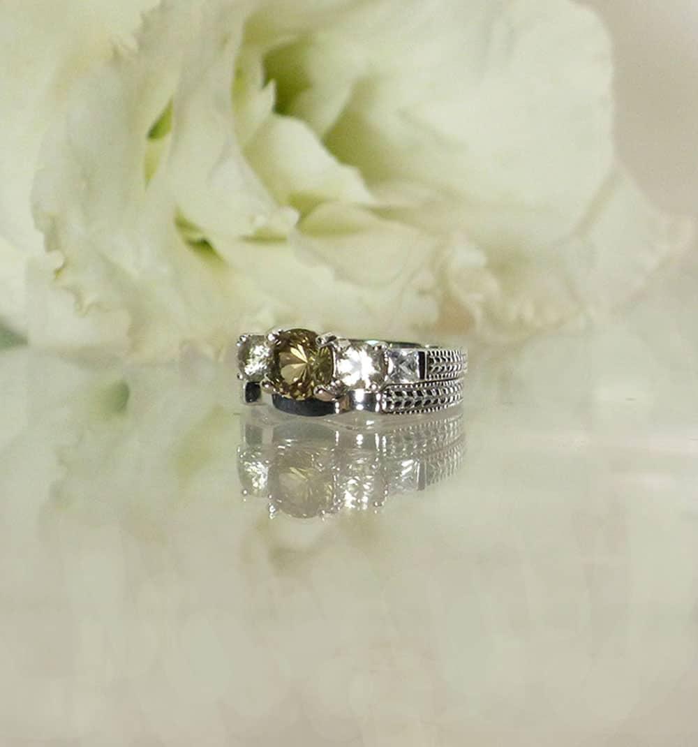 Black Herkimer Ring Set