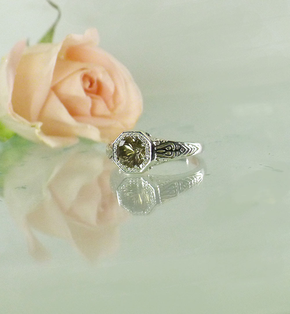 Champagne Herkimer Halo Ring