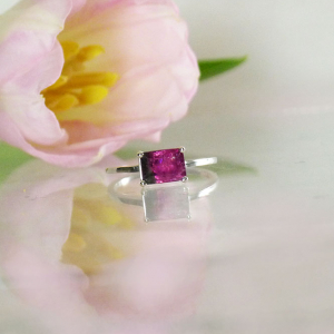 Black Pink Tourmaline Ring