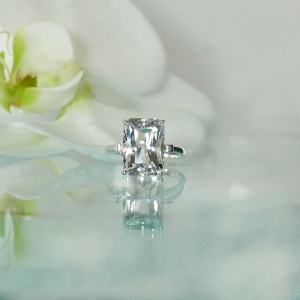 Solitaire Emerald Cut Ring