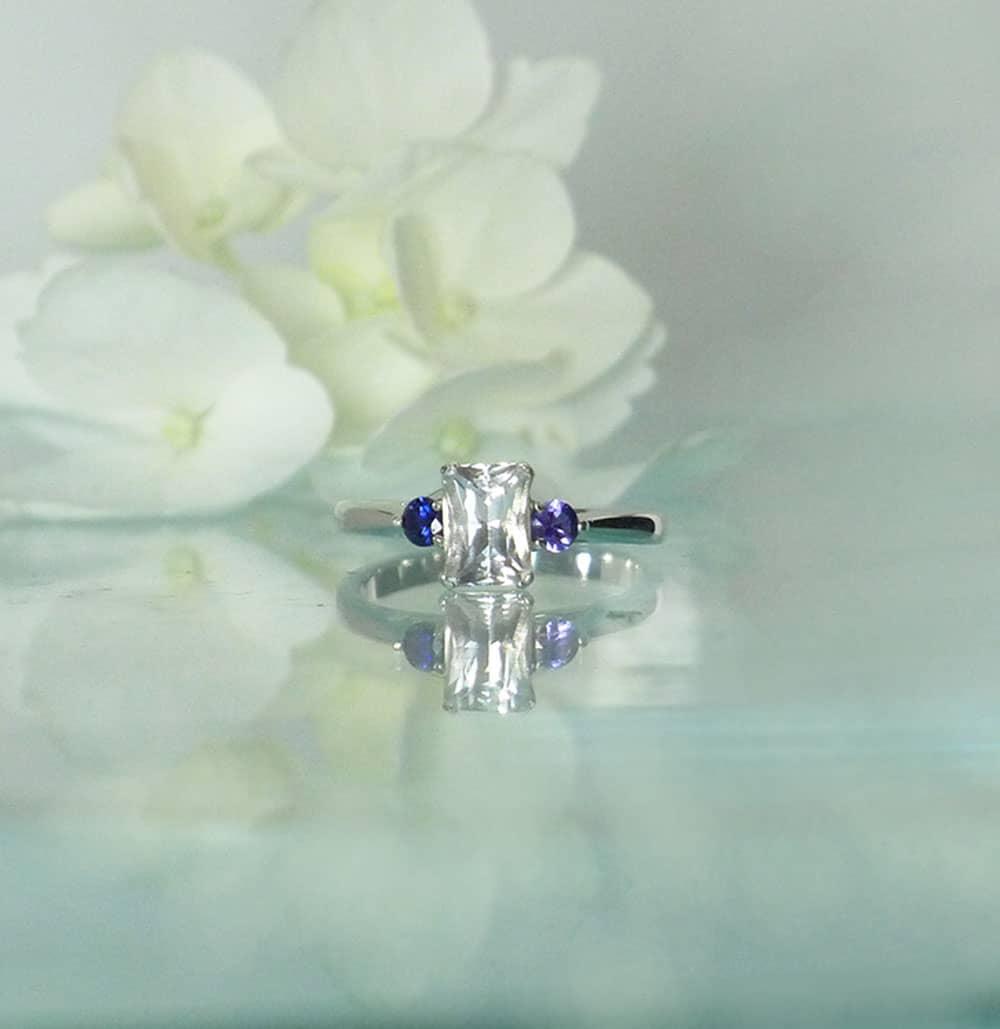 Herkimer Sapphire Engagement Ring