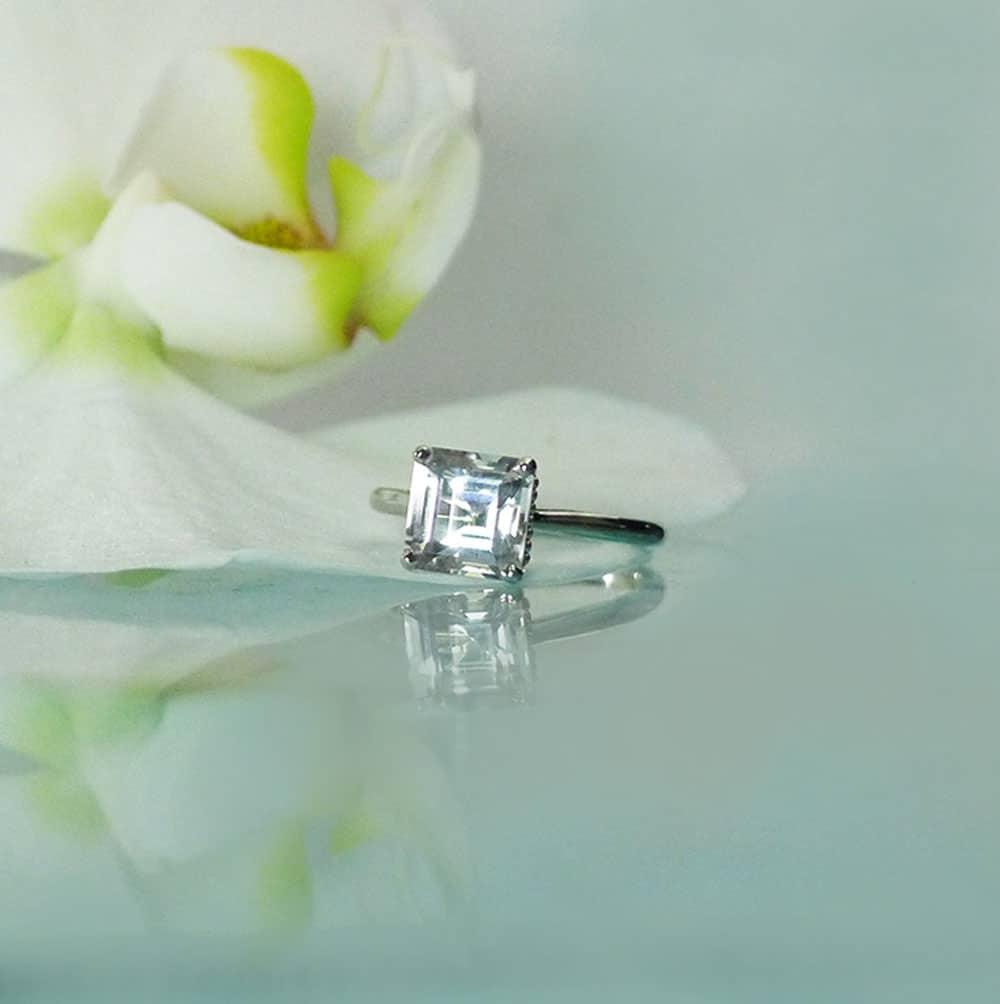 Herkimer Diamond Platinum Ring