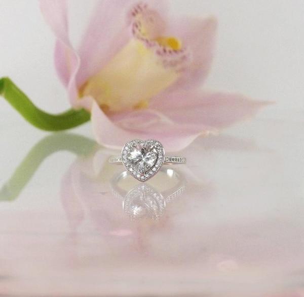 Heart herkimer ring