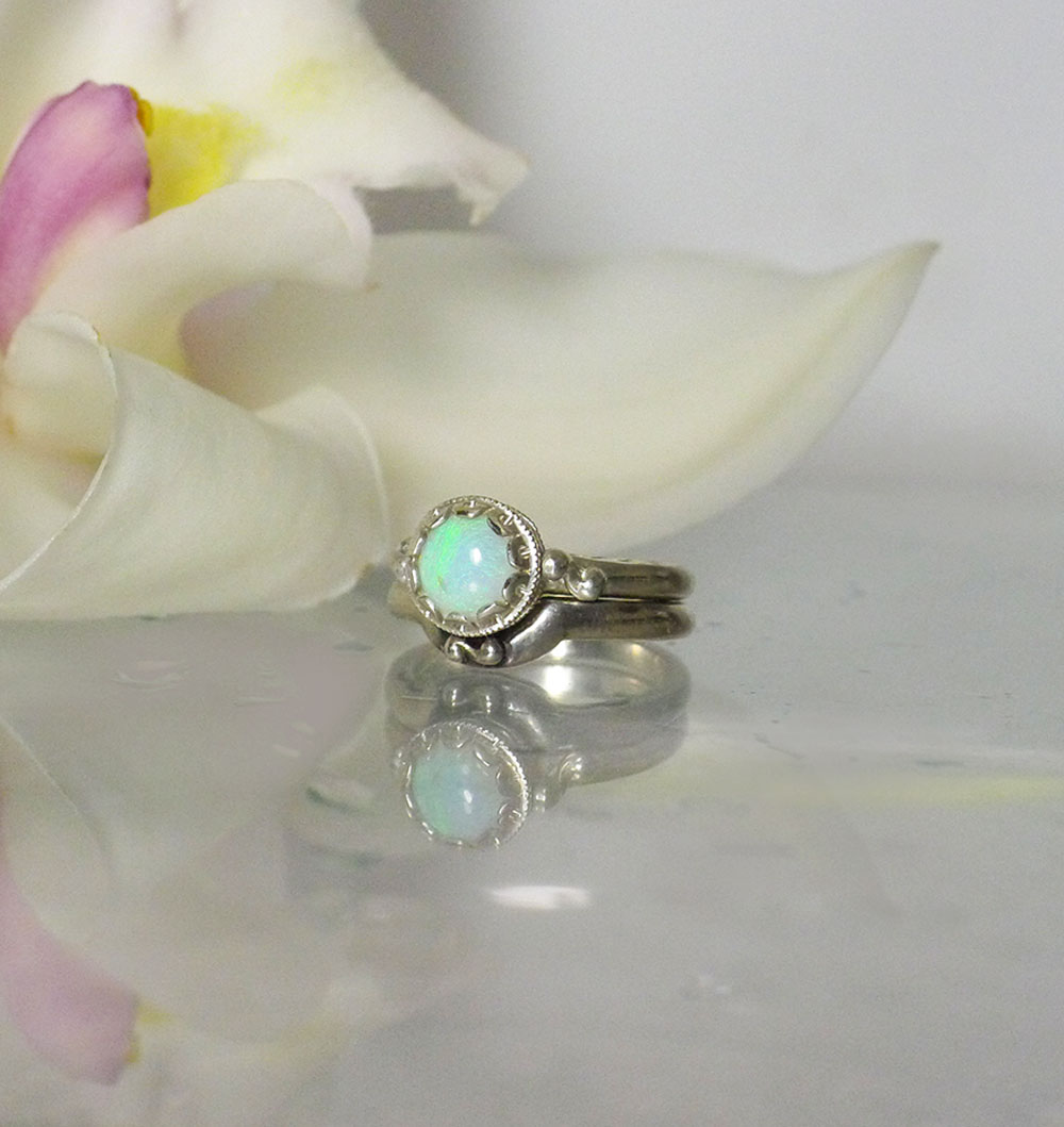 Rustic opal wedding set