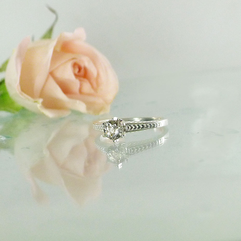 Antique replica herkimer solitaire ring