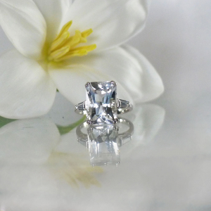 Large Emerald Cut Herkimer Ring