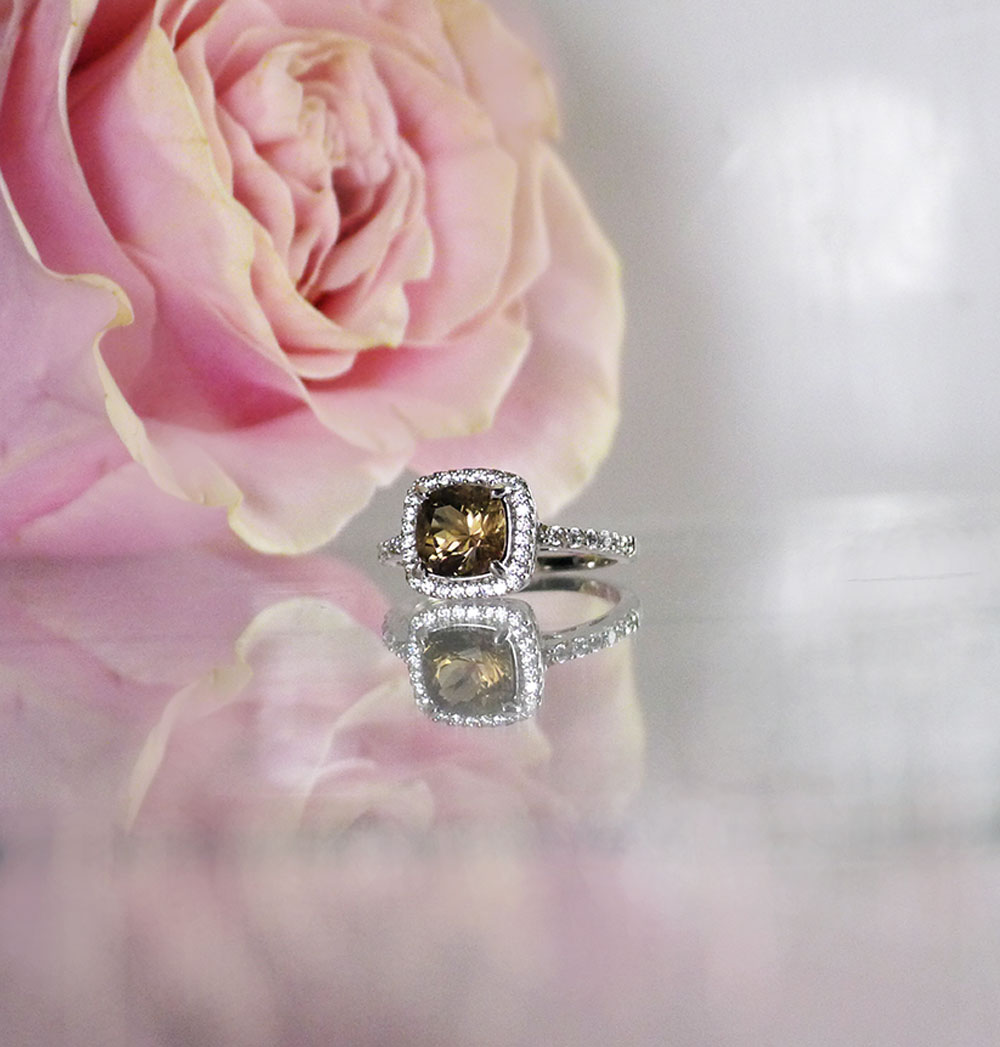 Black Herkimer Halo Ring