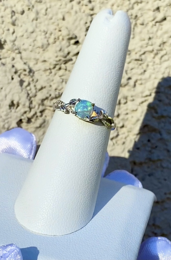 Australian Opal Solitaire Sterling Ring