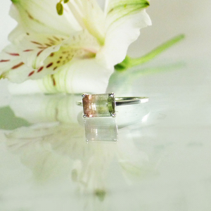Watermelon Tourmaline Solitaire Ring