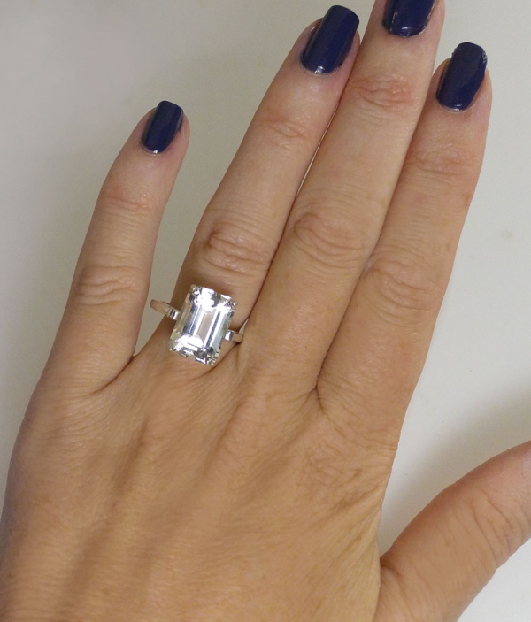 Large Emerald Step Cut Herkimer Ring