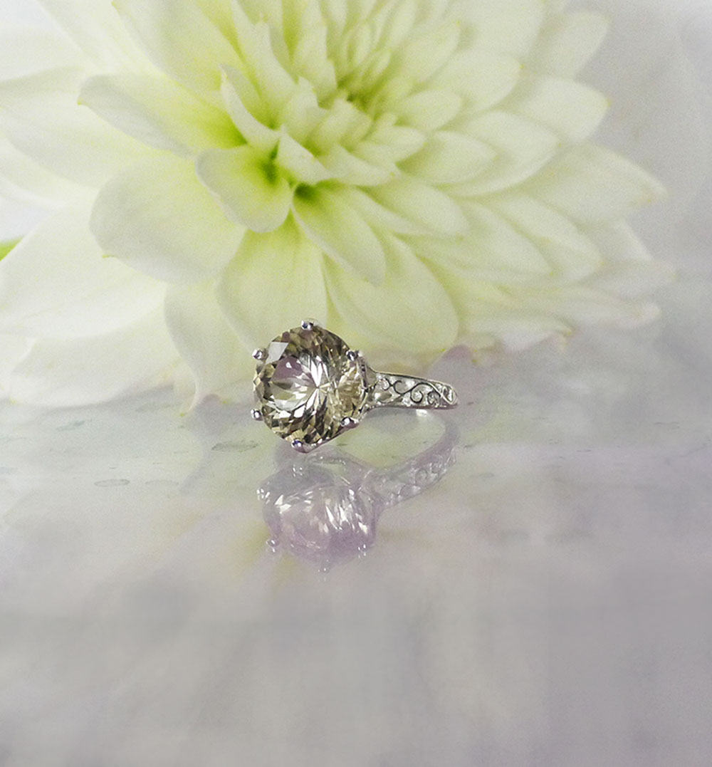 Light champagne herkimer solitaire ring
