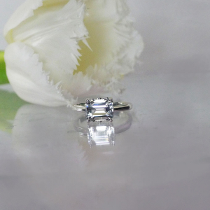 Emerald Cut East West Ring