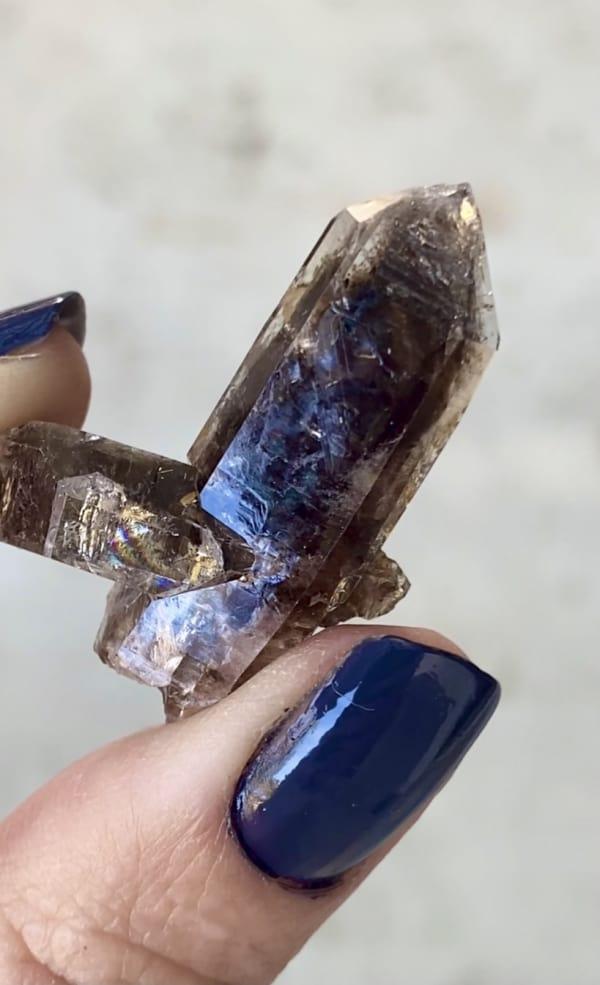 Black herkimer crystal cluster