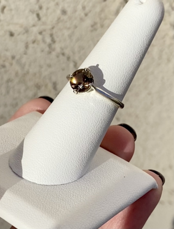 Round Champagne Herkimer Ring