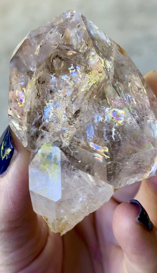Rainbow heart herkimer crystal