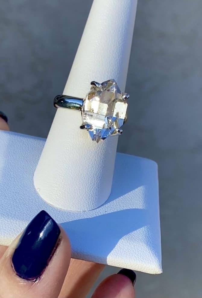 Large Raw Herkimer Diamond Ring