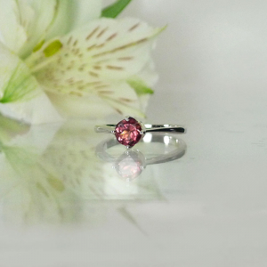 Tourmaline Round Solitaire Ring