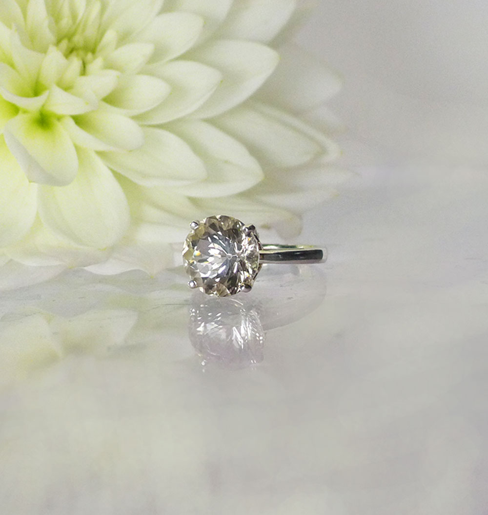 Dove Grey Herkimer Ring