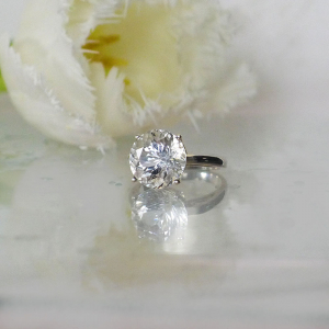 Brilliant Cut Herkimer Solitaire Ring