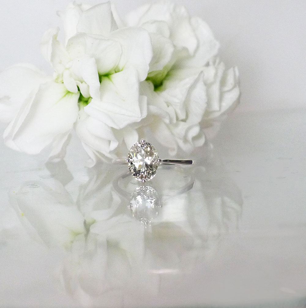 Oval Herkimer Solitaire Ring