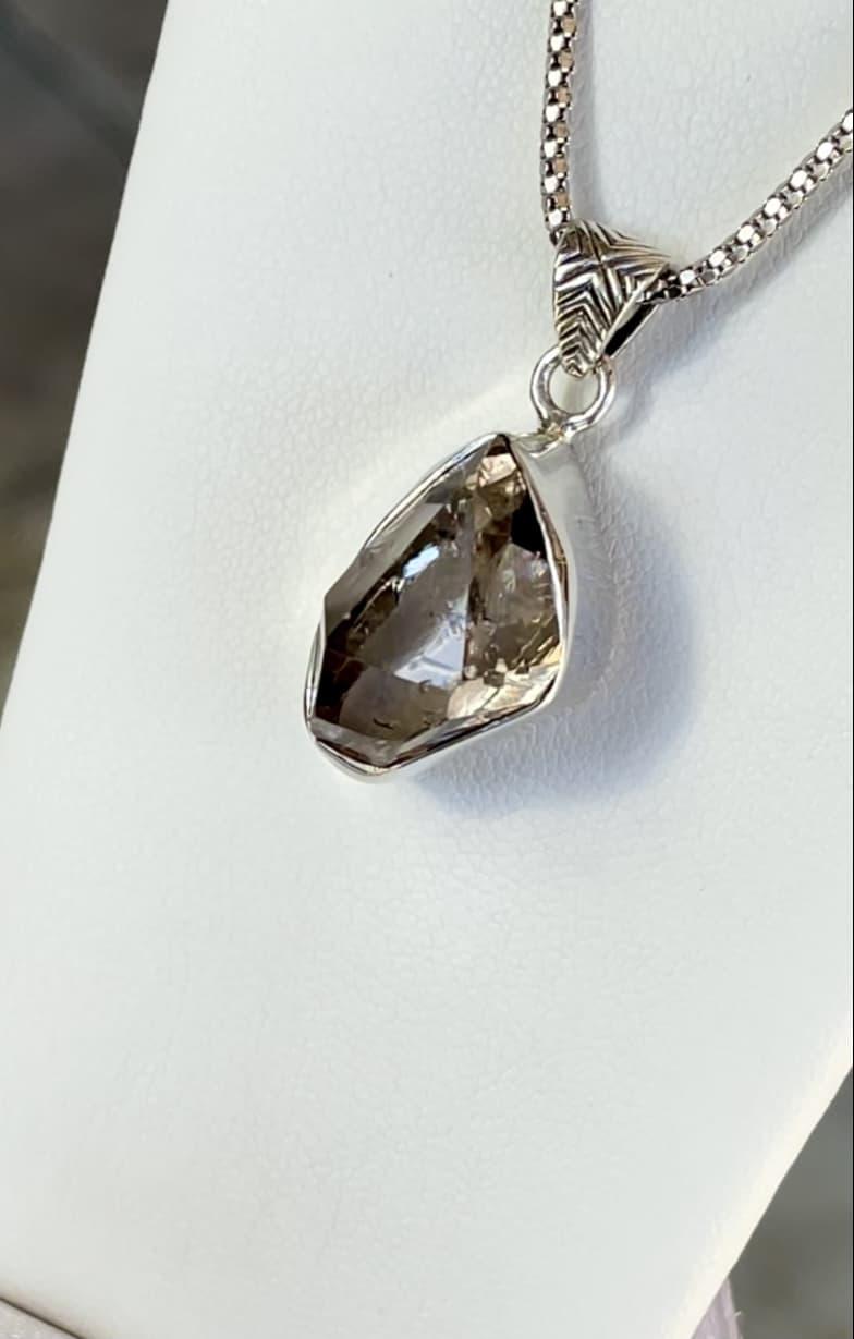 Herkimer smoky bezel pendant