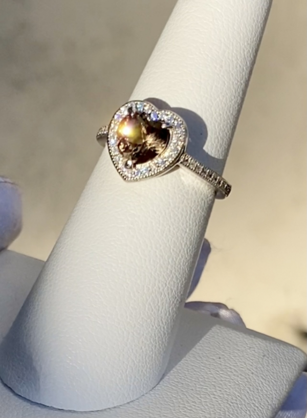 Halo heart champagne herkimer ring