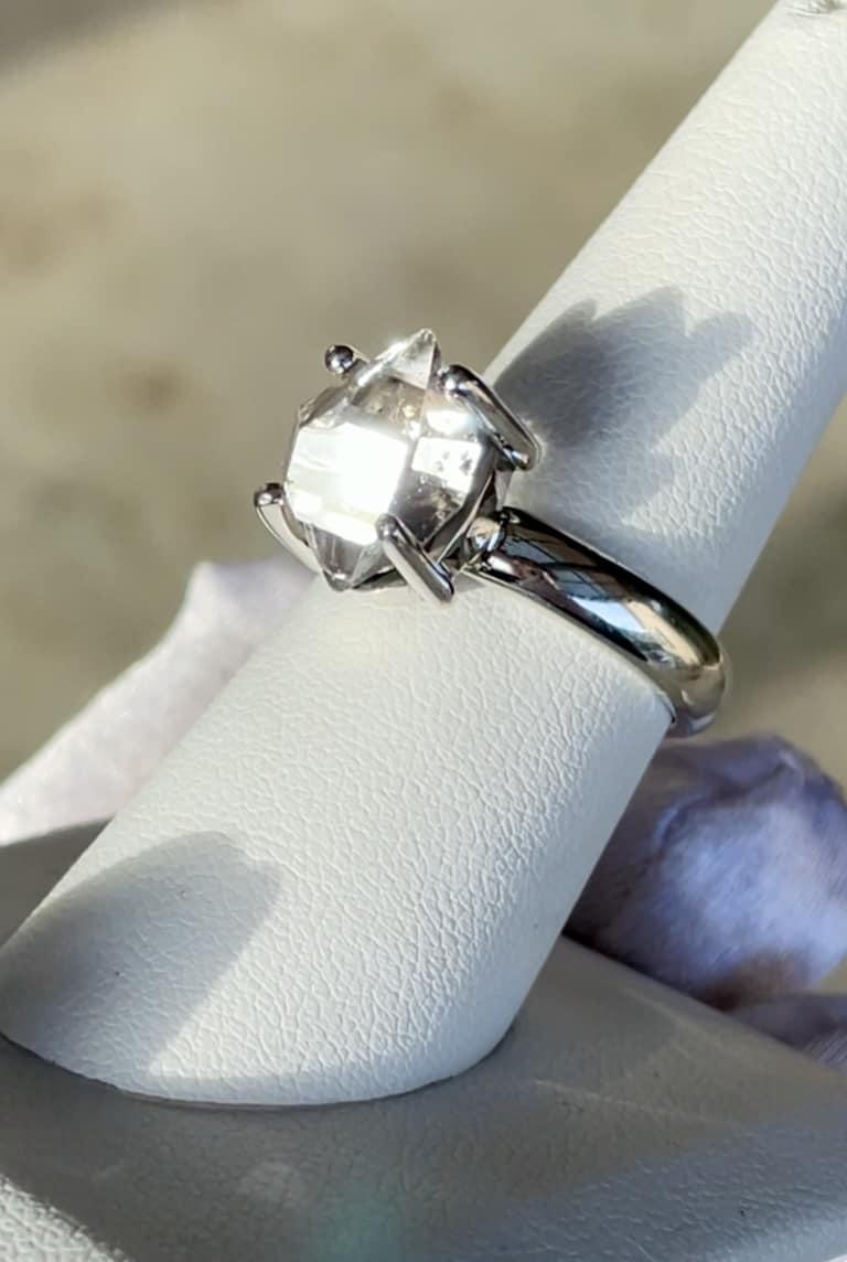 Raw Herkimer Crystal Ring