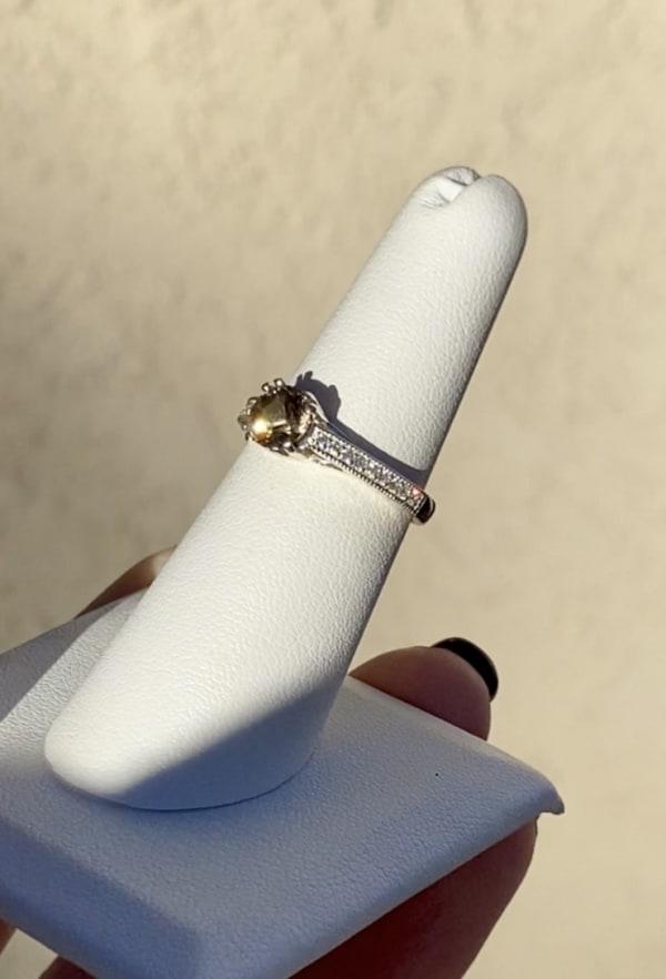 Petite round champagne herkimer ring