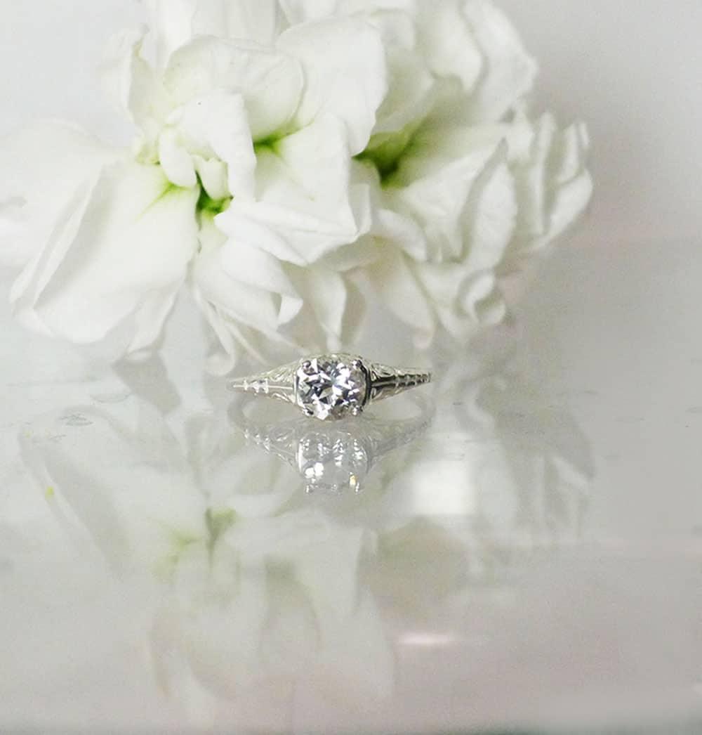 White Topaz Solitaire Ring